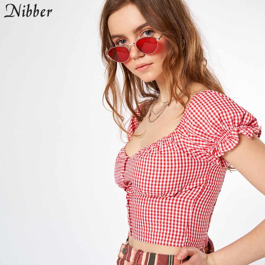 Nibber High street Повседневные хлопковые клетчатые укороченные топы для женщин футболки 2019 летние элегантные офисные футболки с открытыми плечами с коротким рукавом mujer