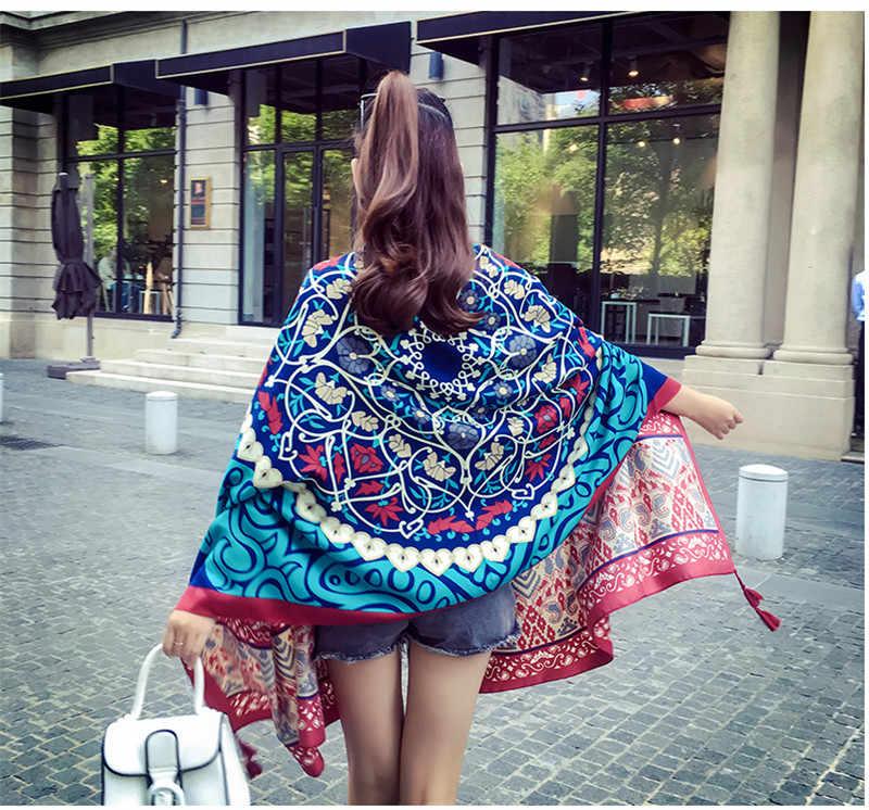 Бандана женские шарфы Хлопок Лен узор женский шарф пляжный шарф хиджаб шлейф Пончо длинный большой размер шарф 21 Цвета в наличии