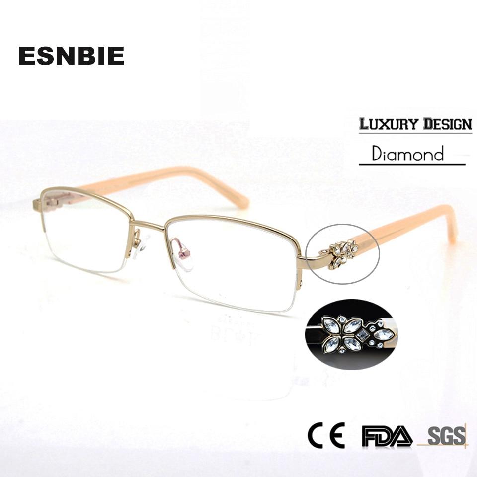 ESNBIE Luxury Rhinestone Eyeglass rāmis sievietēm augstas kvalitātes pusloksnes brilles skaidru objektīvu brilles monturas de gafas mujer