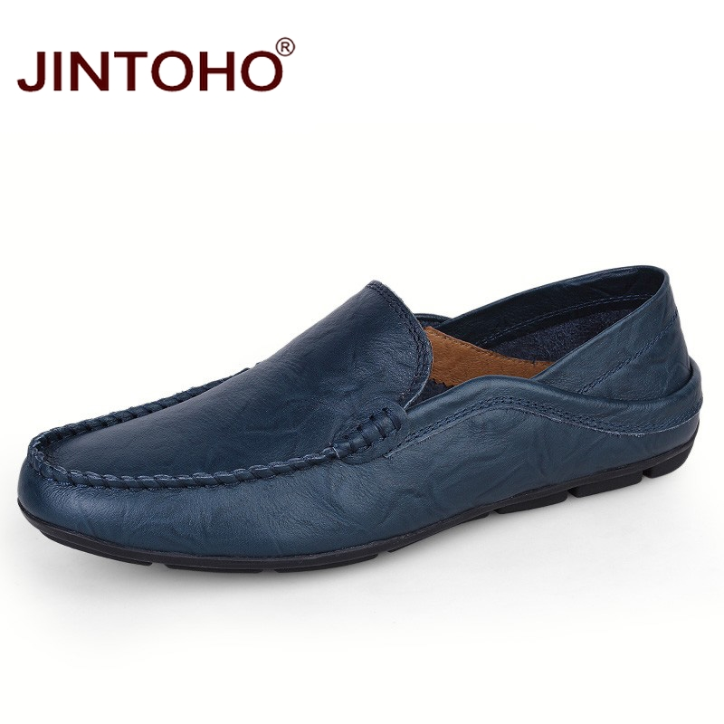 JINTOHO big size 35-47 slip on casual men loafers spring and autumn mens moccasins shoes genuine leather men's flats shoes title=
