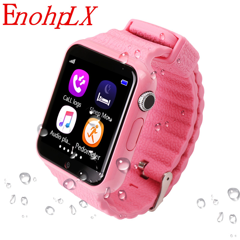 EnohpLX Children Smart Watch V7K Security Anti-lost GPS Tracker Waterproof Smartwatch SIM Card Camera Kid SOS Emergency For iOS