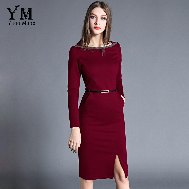 YuooMuoo New High Quality Spring Women Work Dress O-neck Elegant OL Office Dress European Fashion Front Slit Pencil Dress women work dress longsleeve spring new european station grid pencil skirt fake two professional dress l13