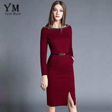 YuooMuoo New High Quality Spring Women Work Dress O-neck Elegant OL Office Dress European Fashion Front Slit Pencil Dress