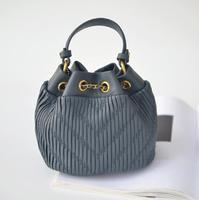 Высококачественная сумка из овечьей кожи с ведром для воды, кожа, одно плечо,