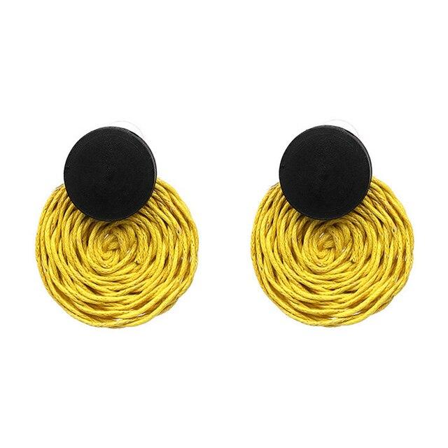 Handmade Rope Weave Round Drop Earrings for Women Bohemian Dangle Earrings Party
