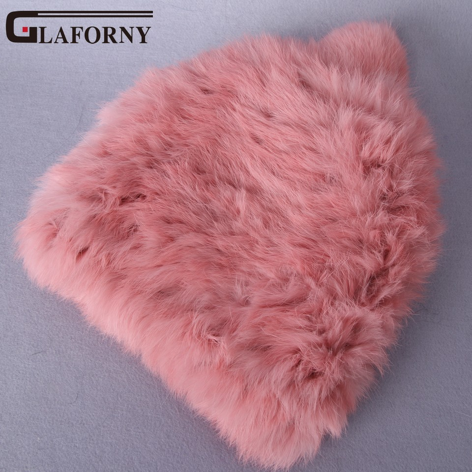 Glaforny Real rabbit fur Hats Women's Winter Hats Knitting Rabbit fur caps   Skullies     Beanies   Women Hat solid colors gorros cap