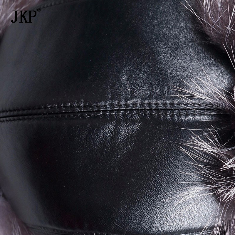 Image 5 - Russian leather bomber leather hat men winter hats with earmuffs trapper earflap cap man real raccoon fur black fox hatska-in Men's Bomber Hats from Apparel Accessories