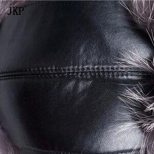 Image 5 - Russian leather bomber leather hat men winter hats with earmuffs trapper earflap cap man real raccoon fur black fox hatska