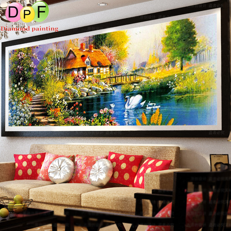 DPF New DIY 5D Diamond Mosaic Needlework Garden round full Diamond Painting Cross Stitch kits Diamond Embroidery Home Decor