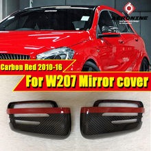 For Mercedes E-coupe W207 Carbon Fiber Wing Door Mirror Cover with Red Line 2pcs 1:1 Replacement E63AMG look mirror covers 10-16