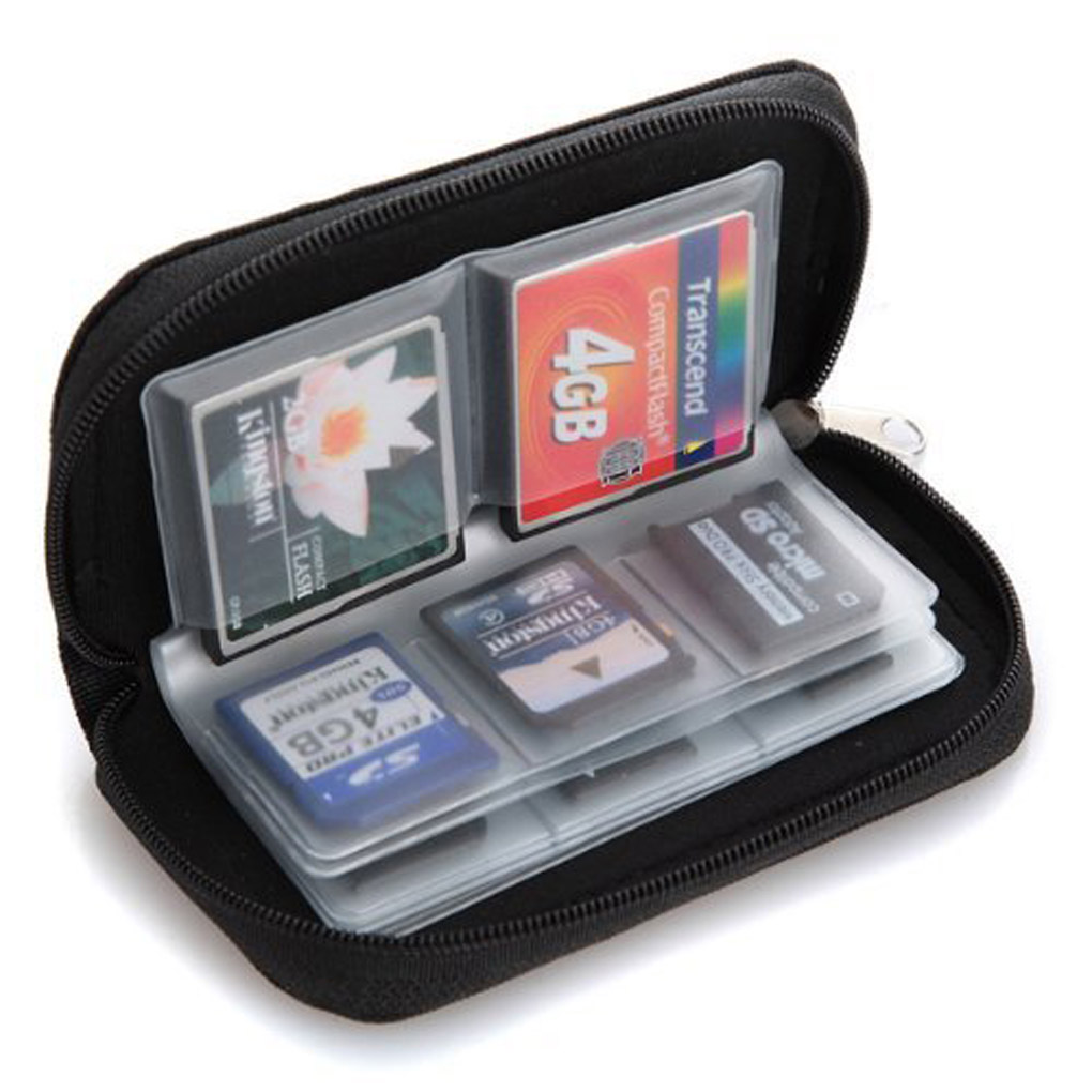 Potable Black 22 cards slot SD Memory Card Storage Carrying Pouch Case Holder Memory Card Bag