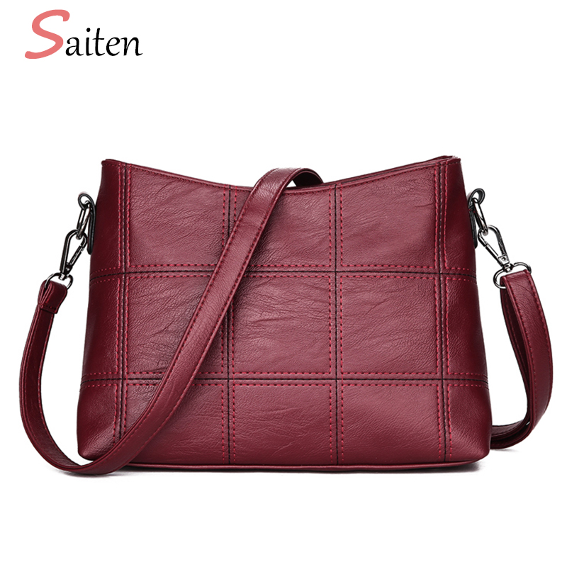 Fashion PU Leather Women Crossbody Bags Plaid Patchwork Female Shoulder Bag High Quality Ladies Messenger Bag Classic Women Sac