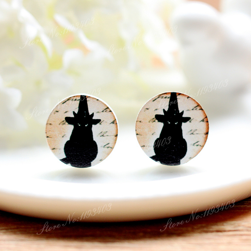 16mm Cat  Round  High Quality Photo Wood Laser Cut Cabochon to make Rings, Earrings,Bobby pin,Necklaces, Bracelets-(WEH-308)
