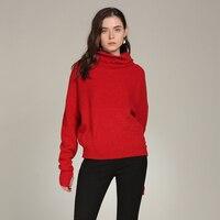 2018 Новый Водолазка пуловер кашемировый свитер 100% с длинным рукавом вязаный осень зима красный Детский комбинезон Для женщин Tricot Sueter Mujer