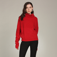 2018 New Turtleneck Pullover Sweater Cashmere 100% Long Sleeve Knitted Autumn Winter Red Jumper Tops Women's Tricot Sueter Mujer