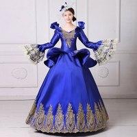 Высокое качество Королевский квадратный вырез горловины длинными расклешенными рукавами синий вышивка вампира вечерние платье 18th века Ма