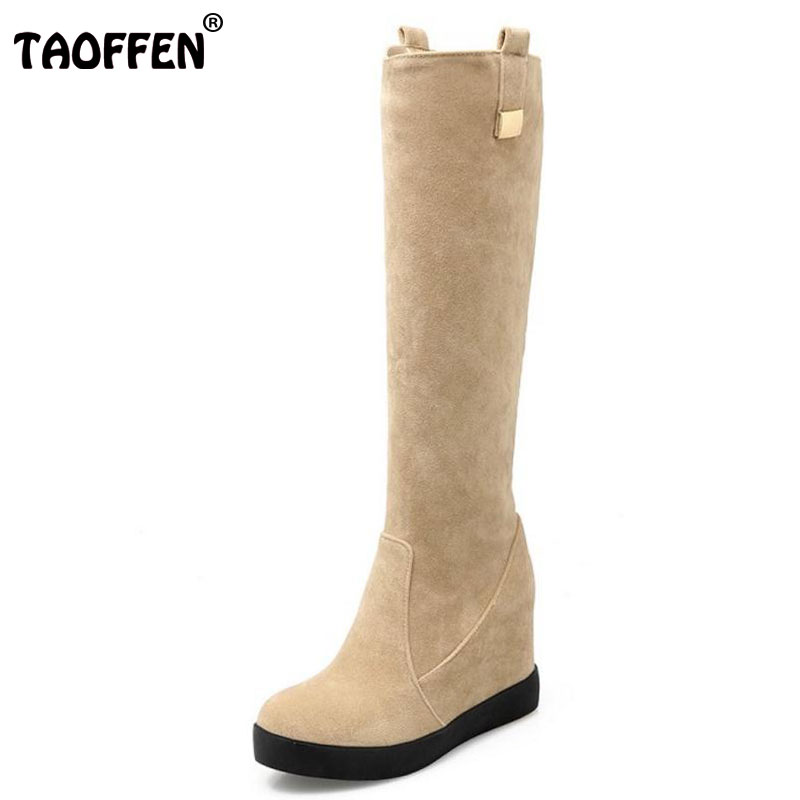 TAOFFEN Sexy Winter Knee High Boots Women Snow Fur Bota Feminina High Heels Platform Shoes Woman Boots Wedges Flock Size 34-39 morazora plus size 34 44 classic fashion flock nubuck leather knee high boots women winter snow high heels platform boots shoes