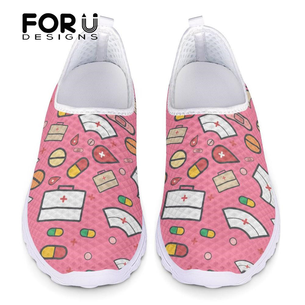FORUDESIGNS Ladies Sneakers Nurse-Shoes Women's Mesh Summer Fashion Casual Pink Mujer