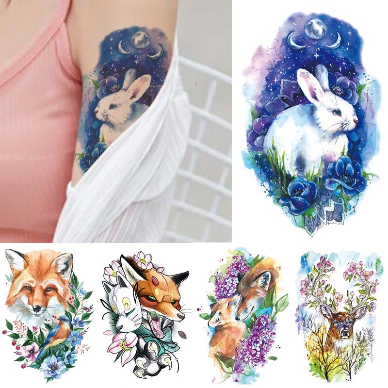 Fashion New Color Temporary Tattoo Sticker For Men Women Tiger Leopard Wolf  Cartoon Body Art Animal Tattoos Waterproof
