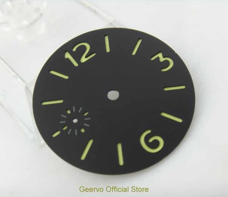 36,3mm GEERVO moda estéril número luminoso negro dial ajuste 6497 movimiento hombres reloj dial 06