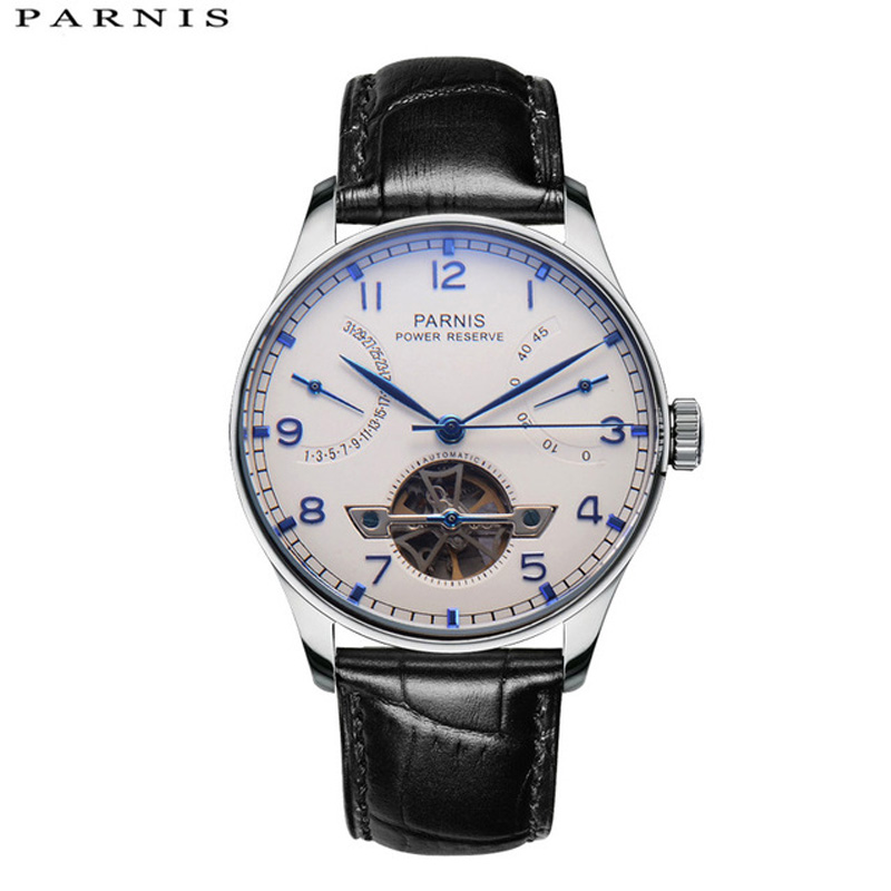 43mm Parnis Skeleton Watch Automatic Watch PVD Case Men Power Reserve Tourbillon Mechanical Watches Men Gift Relogio Masculino