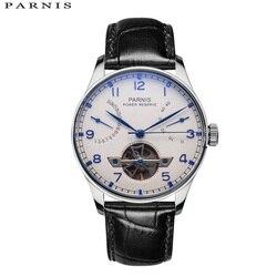 43mm Parnis szkieletowy zegarek automatyczny zegarek PVD Case mężczyźni rezerwa chodu zegarki mechaniczne z tourbillonem prezent dla mężczyzny Relogio Masculino
