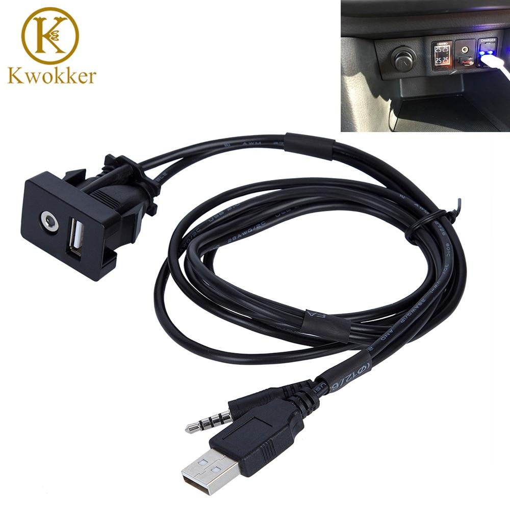 Car Dash Flush 3.5mm Audio Socket USB Headphone Jack AUX Extension Cable Panel