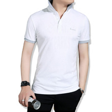 2017 New Casual POLO shirt male summer fashion new men's white cotton short polo-sleeved polo shirt Slim men 5XL