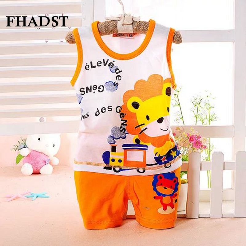 FHADST Fashion Children Baby Boys Clothes Kid's T-shirts Set 2016 Summer Undershirt Clothing Cotton Short T-Shirt +Pants Sets
