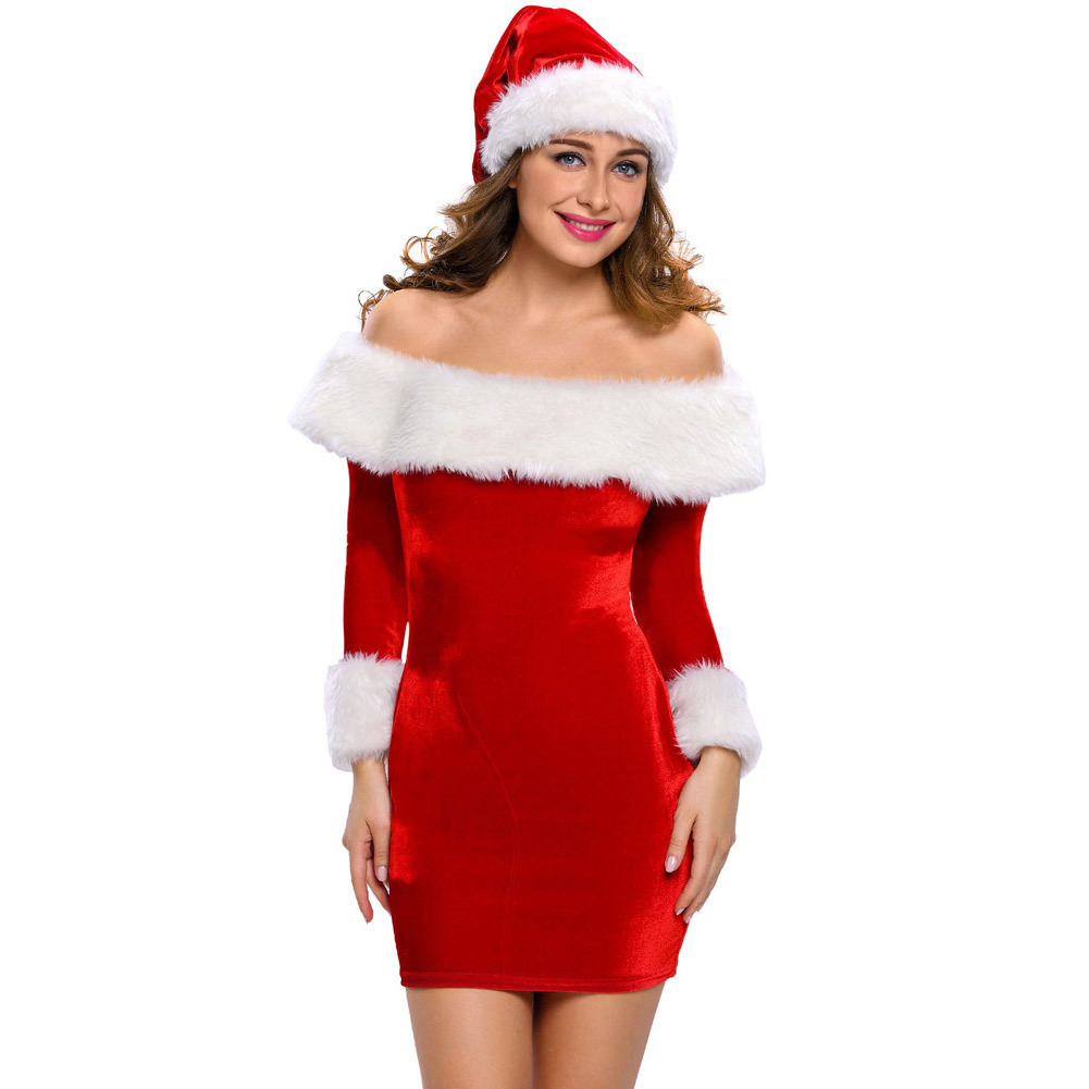 Women Adult Christmas Costume Cute Party Carnival Holiday Cosplay Santa Claus Fandy Dress Xmas Cloth