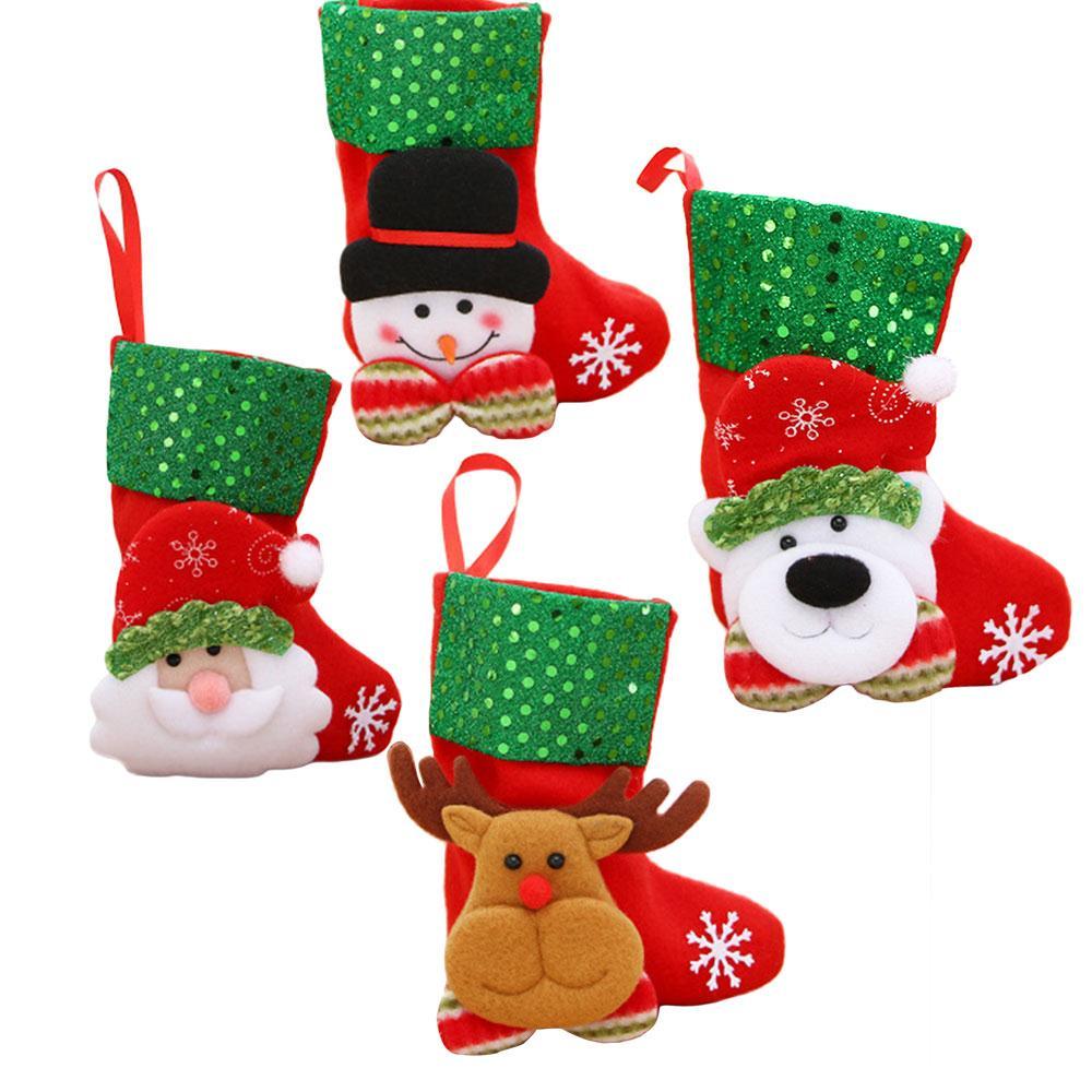 Cartoon Christmas Socks Gift Bag Flannel Sequins Festival Decoration Supplies