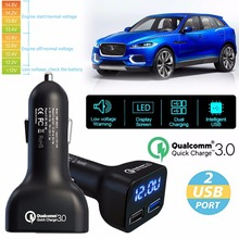 QC 3.0 Fast Car Charger Dual USB Port Quick Charge With LED Voltage Voltmeter for smartphone for GPS