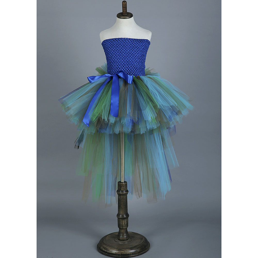 Elegant Feather Peacock Girl Wedding Tutu Dress Kids Knee Length Formal Birthday Party Ball Gown Tutu Dresses For Photo Props baby girl kids peacock feather dress