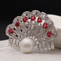Blucome Red Cubic Zircon Brooches For Women Bridal Jewelry Metal Copper Fan Brooch Pins Anniversary Jewelry