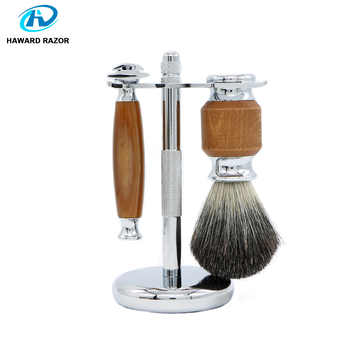HAWARD Razor Men\'s Shaving Set Classic Double Edge Safety Razor With 100% Pure Badger Hair Shaving Brush + Stainless Steel Stand - Category 🛒 Beauty & Health