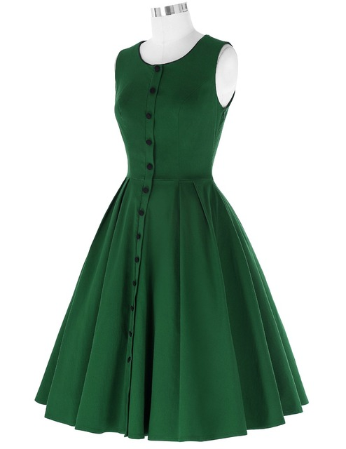 Women Dress 2016 Retro Vintage Sleeveless Screw Neck Buttons Decorated High Stretch Flared A-Line Rockabilly Party Picnic Dress