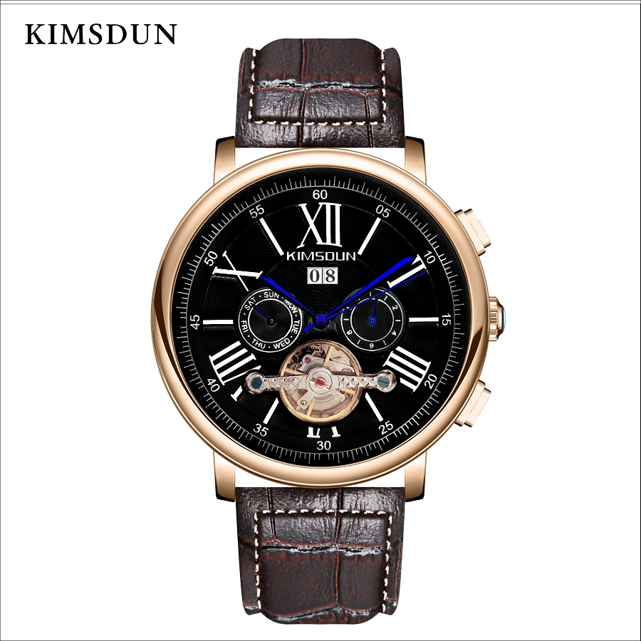 Automatic Mechanical Watch KIMSDUN Tourbillion Waterproof Men's Watches Luxury Brand Skeleton Casual Men Watch Montre Homme