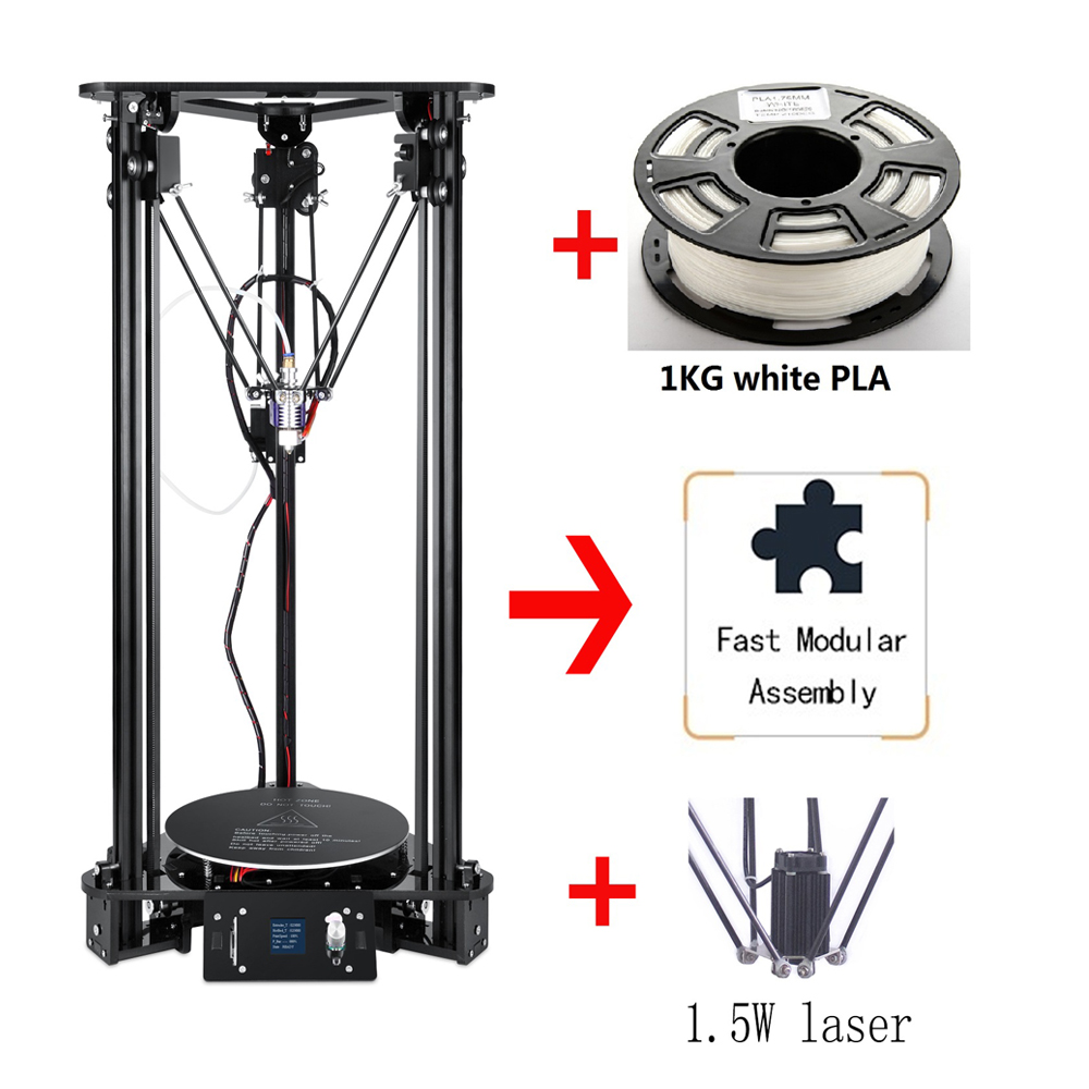 Brand New High Precision Delta Kossel 3D Printer DIY Kit 300*320mm Large 3D Printer Size With Laser Engraving Home Desktop