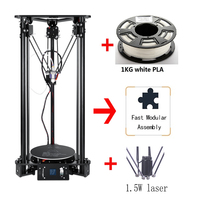 Brand New High accuracy Delta Kossel 3D Printer DIY Kit 300*320mm Large 3D Printer Size With Laser Engraving Home Desktop