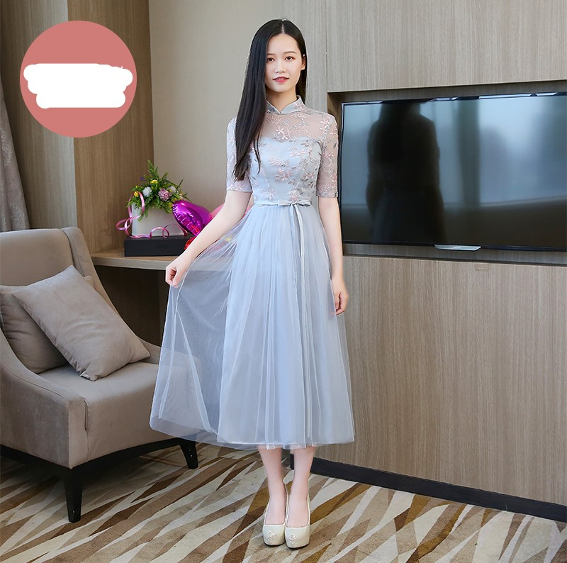 Blue Grey Colour Embroidery Sexy Dress  Bridesmaids Dresses For Women  Wedding Party  Midi Dress