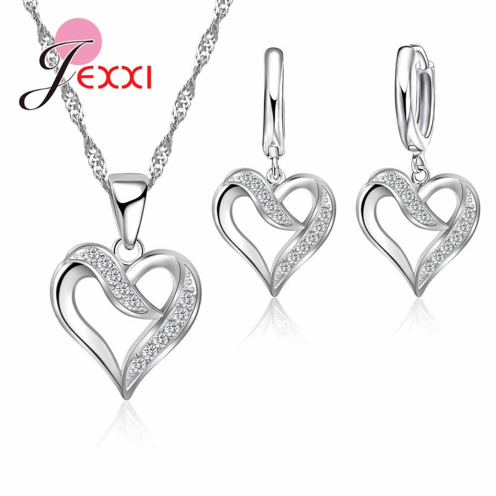 JEXXI Noble Women Wedding & Anniversary Jewelry Gifts Top-Rated 925 Sterling Silver Love Heart Necklace Earrings Choker Sets
