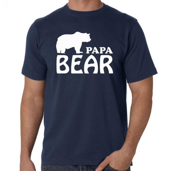 Папа медведь забавные День отца поп-папа подарок на день рождения новый синий подарок футболка футболки короткий рукав для отдыха модные ле...
