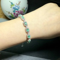 Sale Qi Xuan_Fashion Jewelry_Colombia Green Stone Fashion Bracelets_S925 Solid Silver Bracelet_Factory Directly Sales