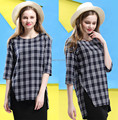 2015 Hot Sale Women Plaid Shirt New Fashion T-Shirt Women's Forked tail Tee