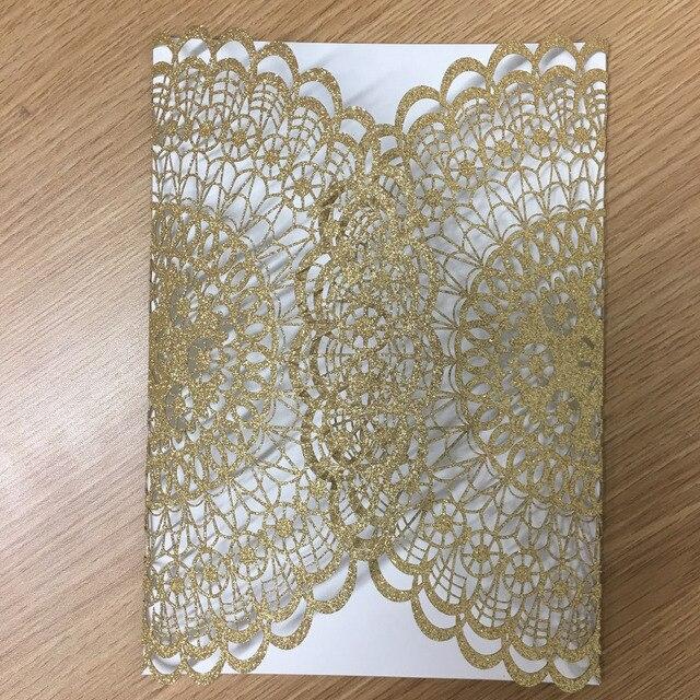 Ausgefallene Hochzeitseinladungskarte In Glitter Papier Gold Und