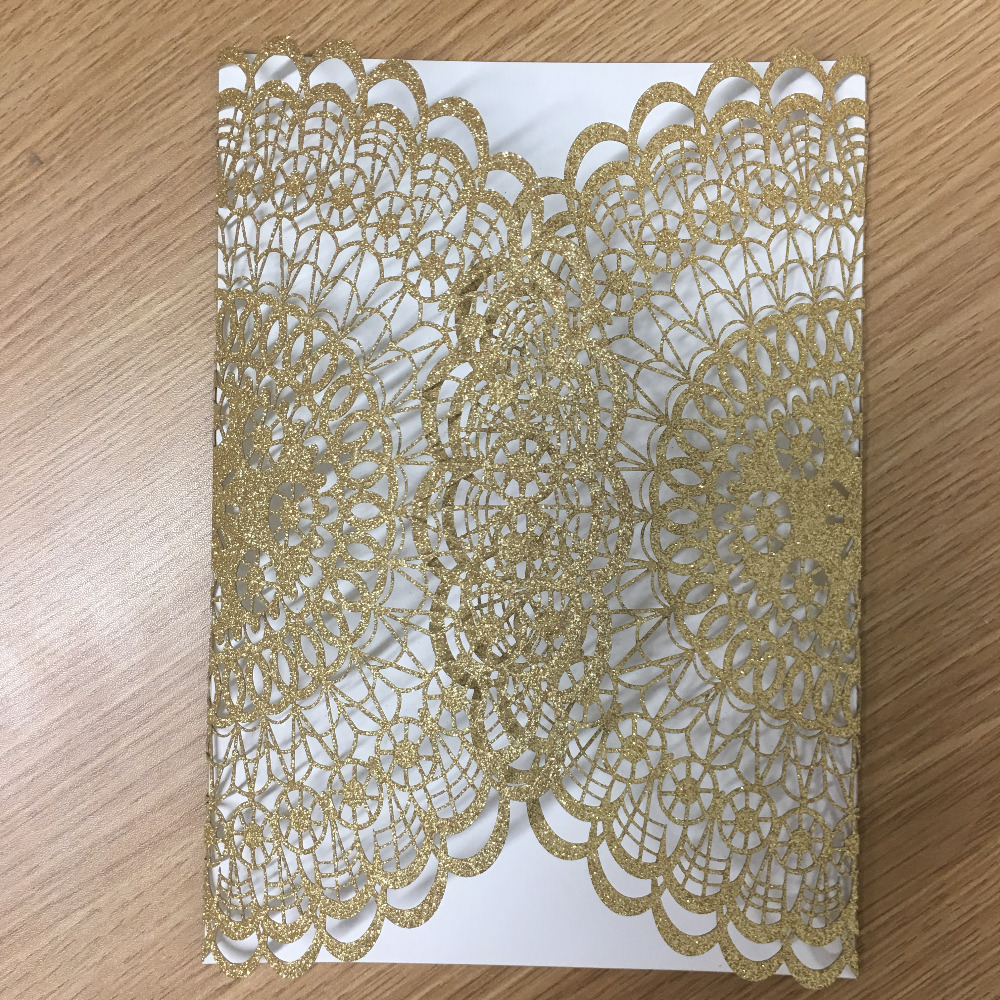 70 84 Tarjeta De Invitación De La Boda De Lujo En Papel Brillante Oro Y Plata Encaje Vintage Tarjetas De Felicitación Diseños Para La Boda In