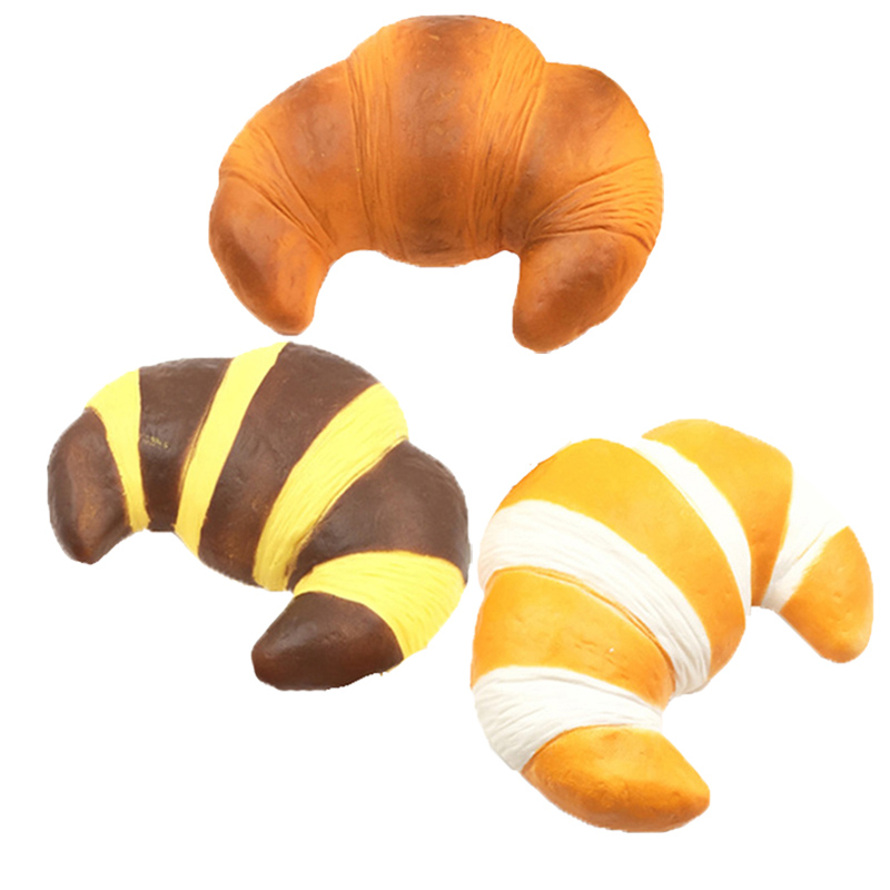 Jumbo Squishy Croissant Slow Rising Squeeze Toy Soft Baking Bread Decoration Squash Decompression Toys For Adults