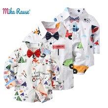 Купить с кэшбэком New Fashion cotton Kids shirt for boys ins blouses flower printed tops long sleeve baby white shirts collar casual clothes