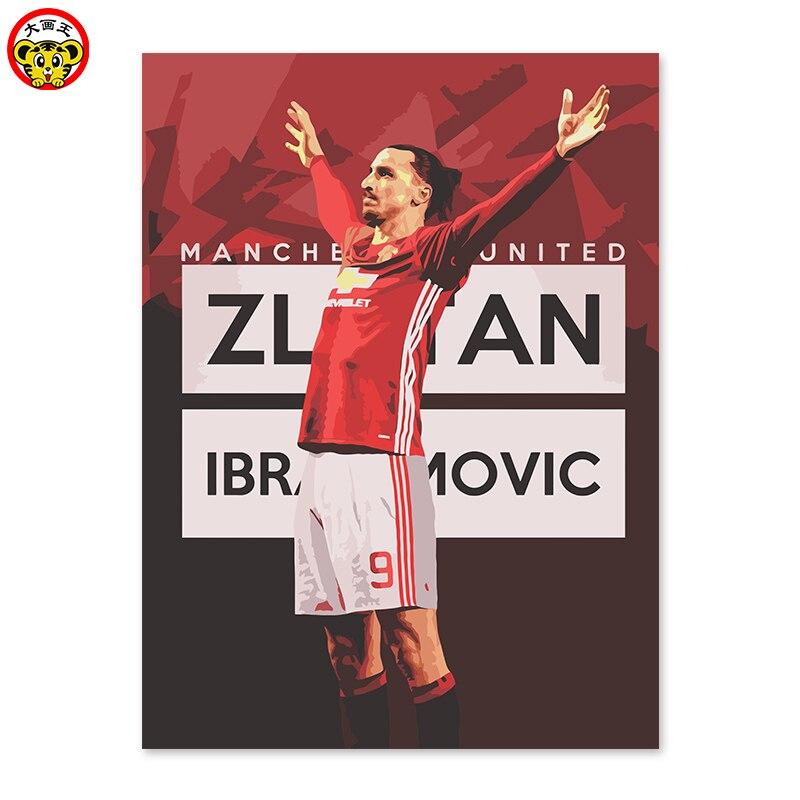 DIY digital painting, decorations, handicrafts, Zlatan, footballer, striker. <font><b>Manchester</b></font> <font><b>United</b></font> Football Club. Best shooter