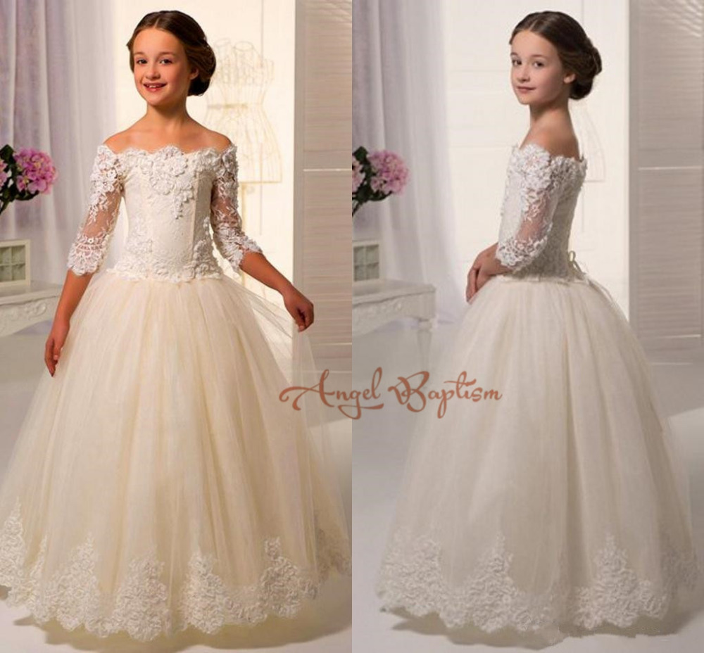 New Elegant Off the shoulder 3/4 sleeves Lace Appliques Ball Gowns First Communion Dress Flower Girl dresses Kids frock designs pink lace details backless off the shoulder long sleeves mini dress